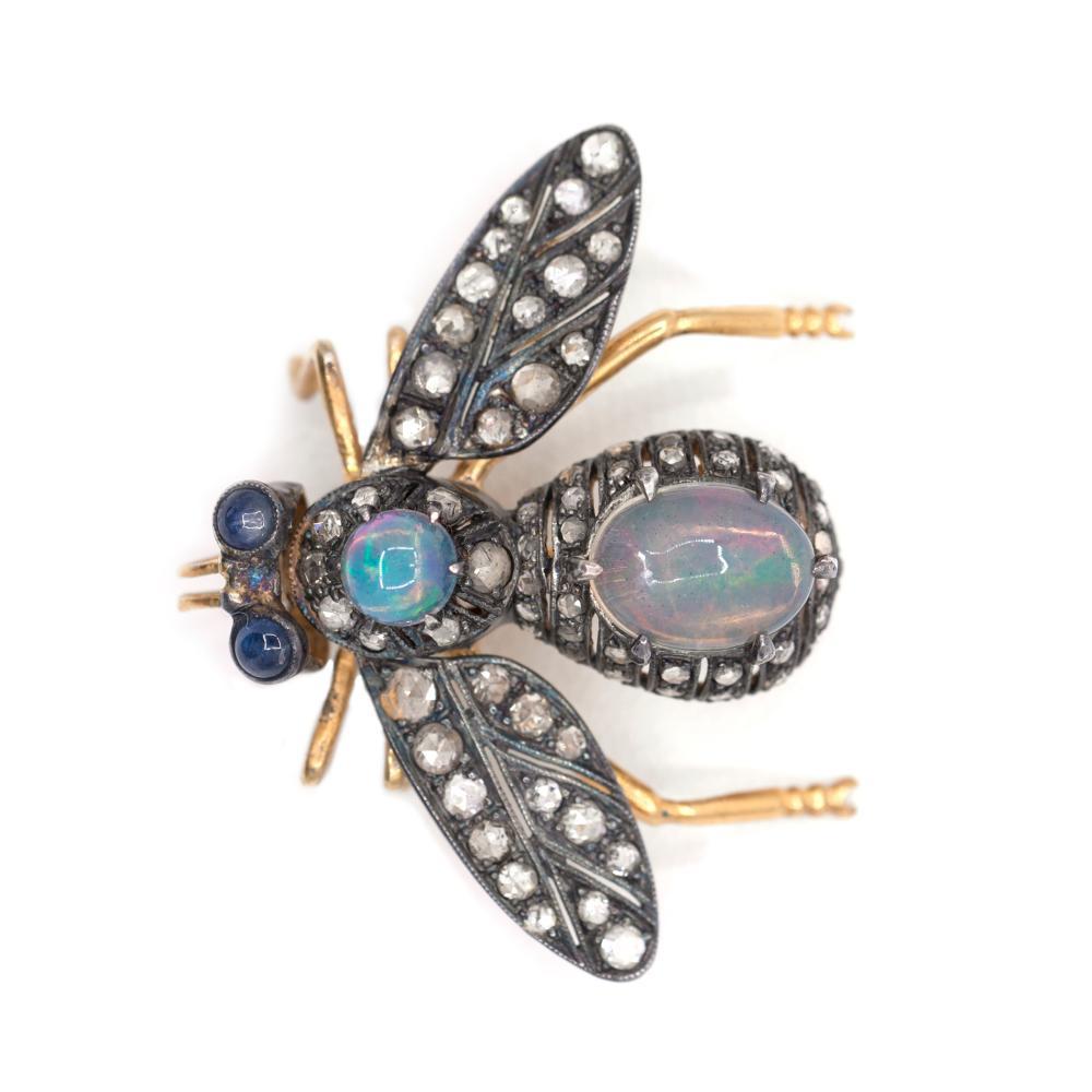 Large 14KY Silvertopped 1.10ct Diamonds & Opal Beetle Brooch