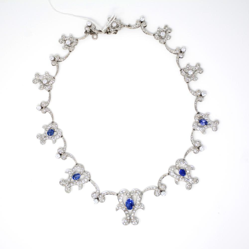 Platinum Sapphire and Diamond Necklace