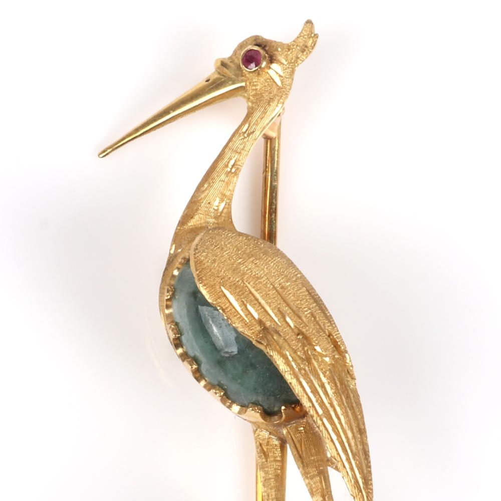 "Stamped Made in Italy 750, 18K yellow gold figural heron, stork, crane bird brooch with jasper cabochon body and garnet eye. 2 1/2"" L x 1 1/2"" W, 6.25 dwt"
