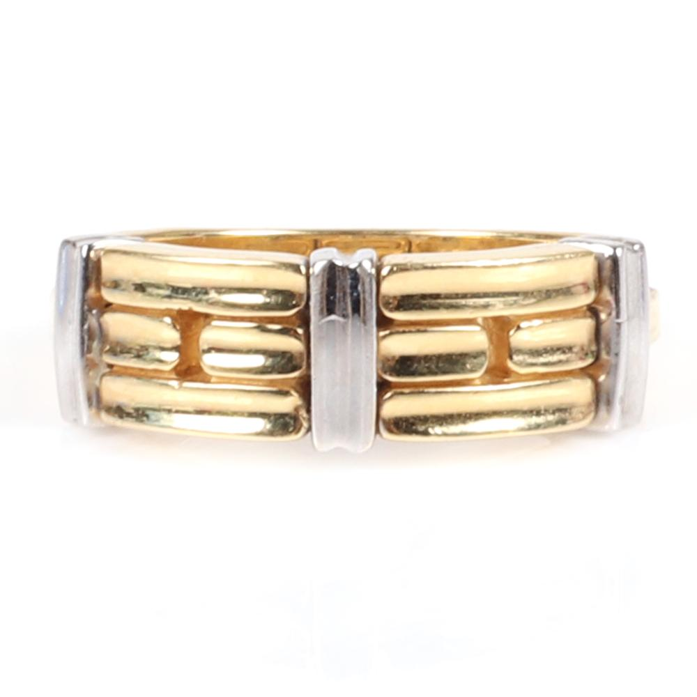 Chimento Stamped 750 18K Italy Designer yellow and white gold band ring, 4.90 dwt. Ring Size 6 3/4