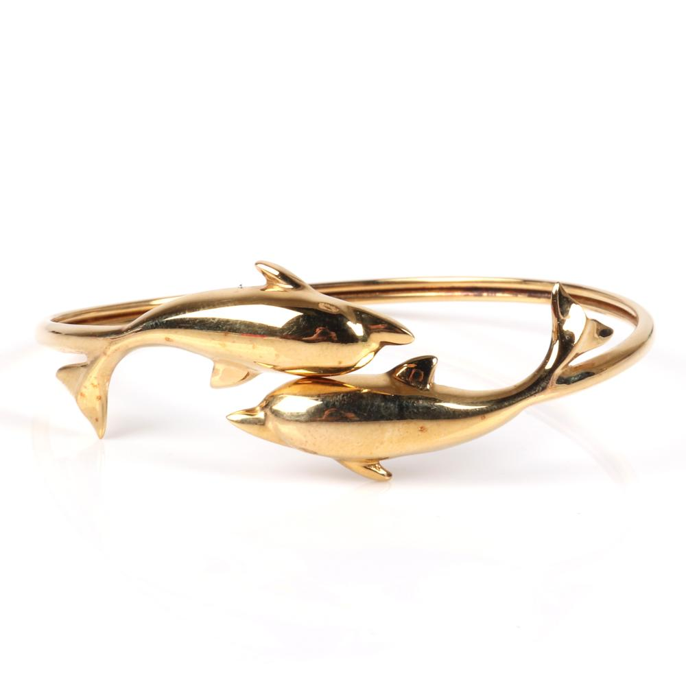 """Vintage 14K yellow gold figural dolphins memory wire bypass cuff bracelet, 5.35dwt. 2 1/4"""" inner diam."""
