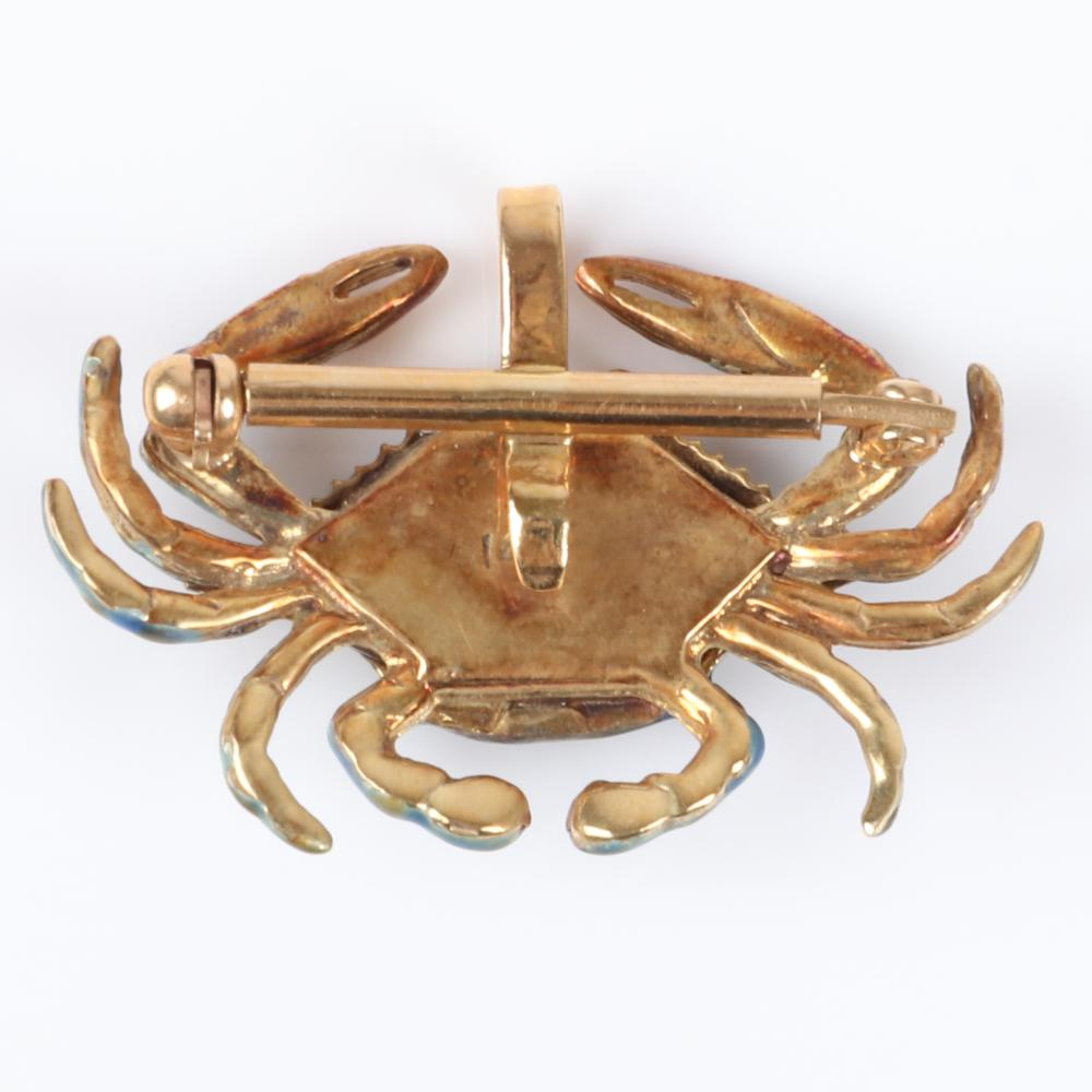"Vintage 14K yellow gold figural metallic enamel patinated crab pin pendant with diamond accent eyes, 5.25 dwt. 1""H x 1 1/4""W"