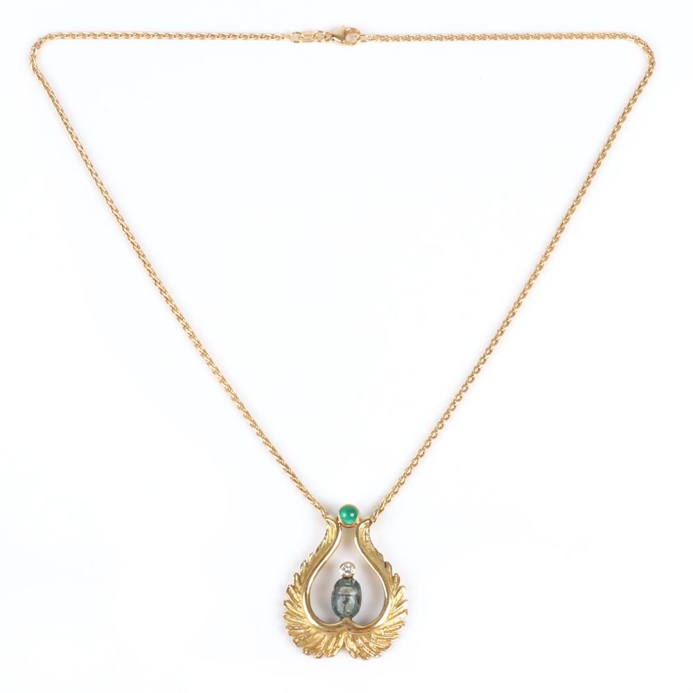"Stamped 750 18K yellow gold Egyptian Revival pendant necklace with faience scarab, emerald cabochon and diamond accent, 8.80 dwt, 16""L"