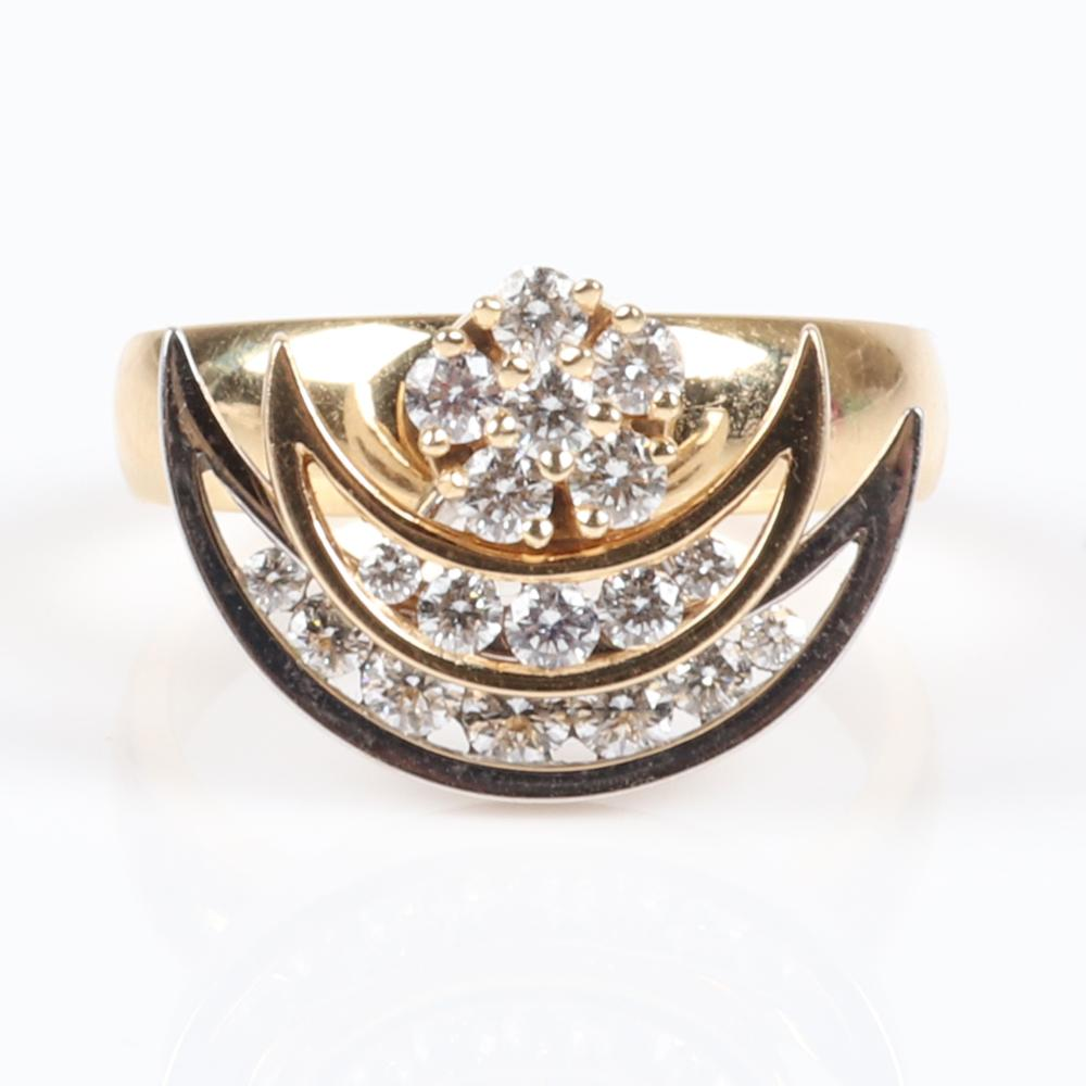 Teufel 1980 14K yellow and white gold and diamond double spinning crescent motion ring. Ring Size 6 1/4