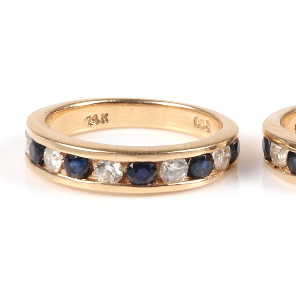 Pair 14K yellow gold band stacking rings with channel set round diamond and sapphires. Ring SIze 5 3/4