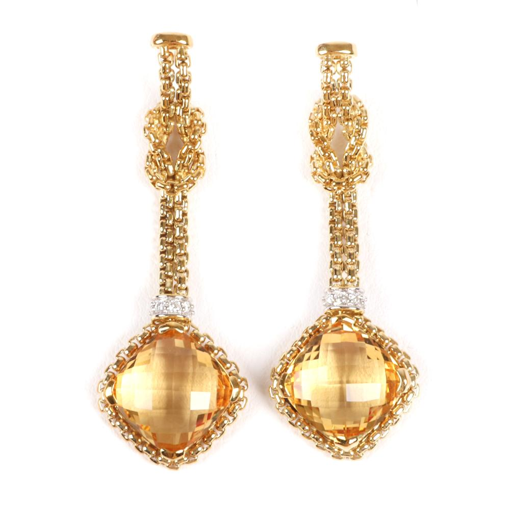 "David Yurman 750 18K yellow gold drop earrings with cushion cut citrine on knotted box chain with diamond rondelle accents. 2""L"
