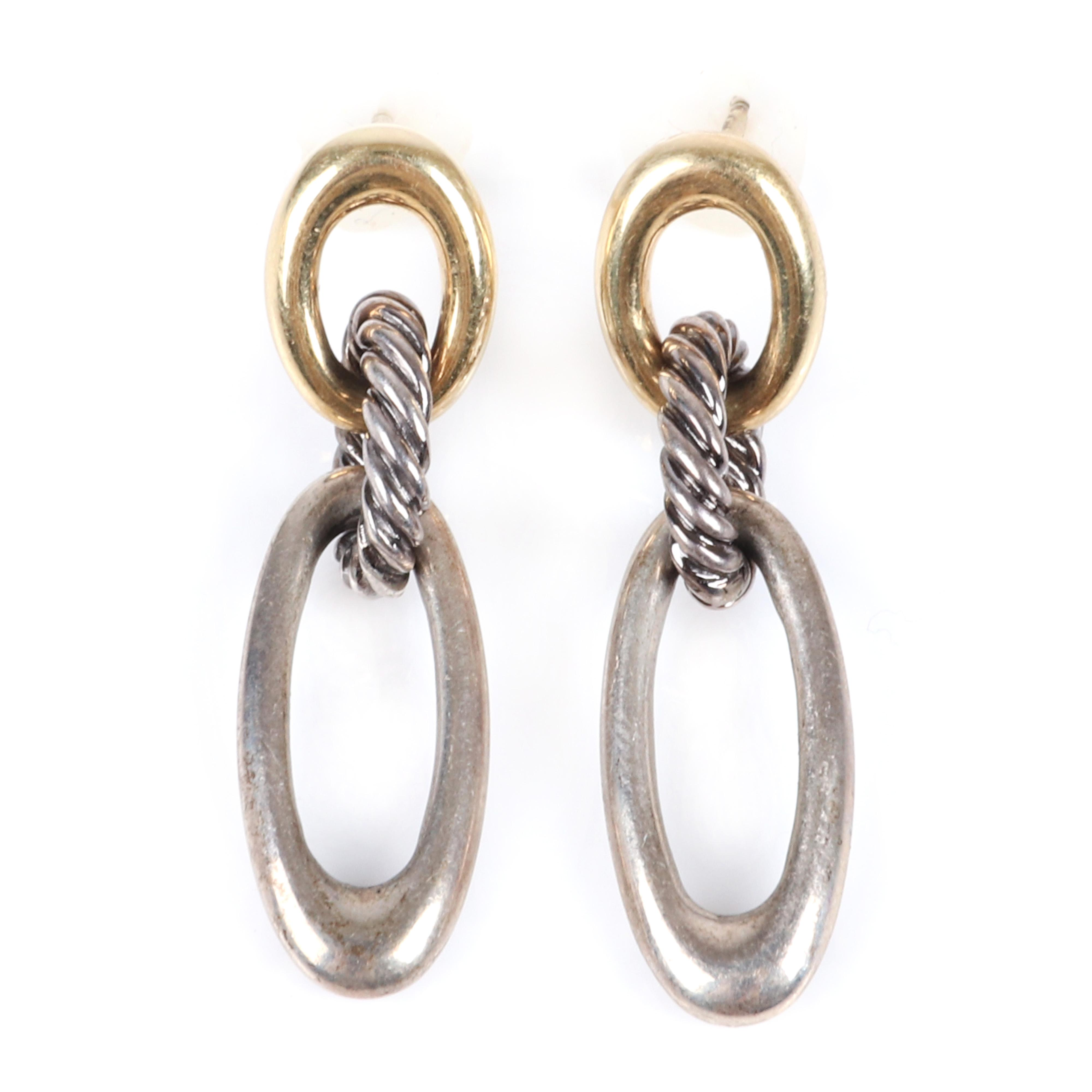 """David Yurman triple oval link earrings with 18K yellow gold and & sterling silver cable and oval links. 1 5/8""""H"""