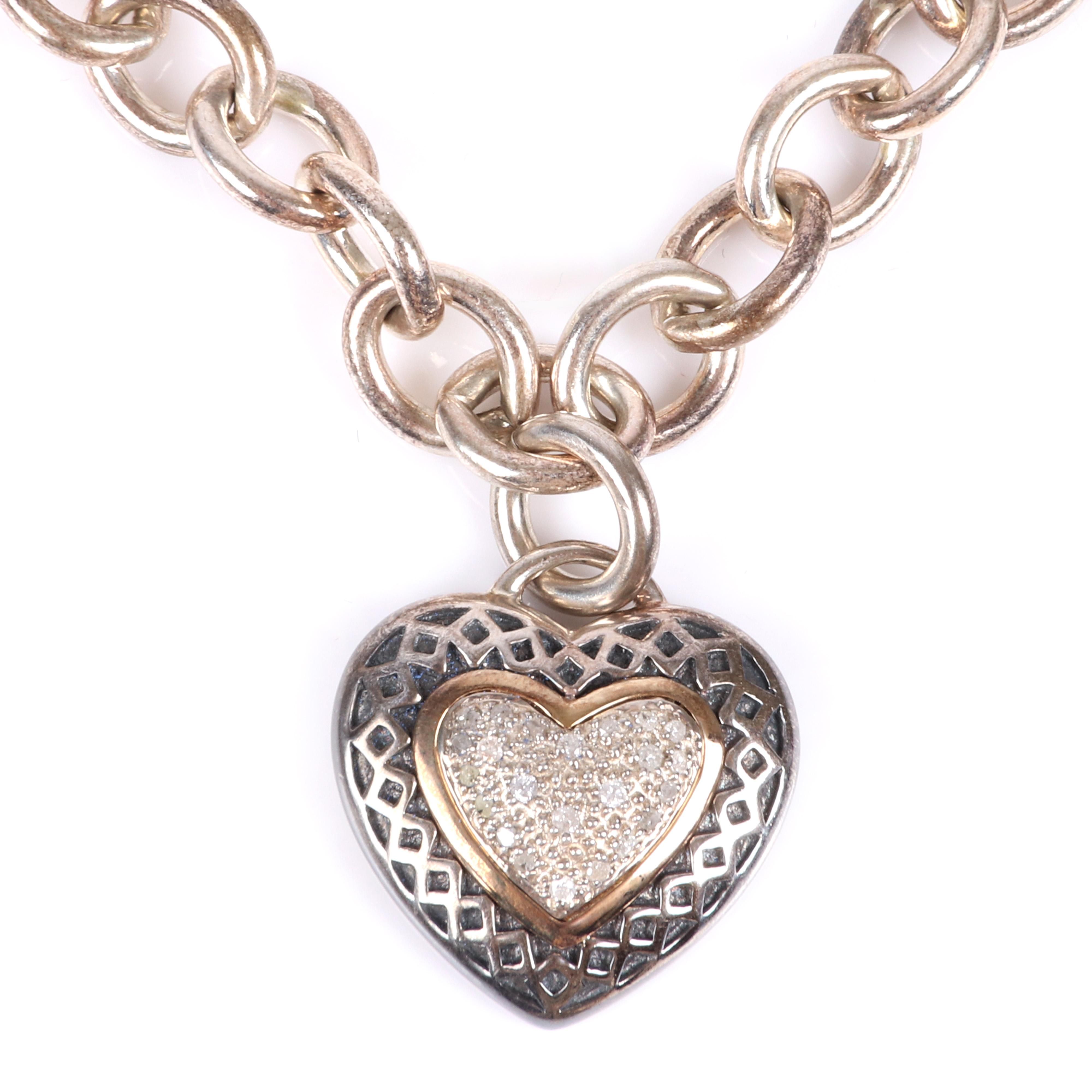 """T&C designer sterling silver, 14K yellow gold, and diamond large link necklace with heart shaped pendant 18""""L (necklace), 7/8""""H (heart pendant)"""