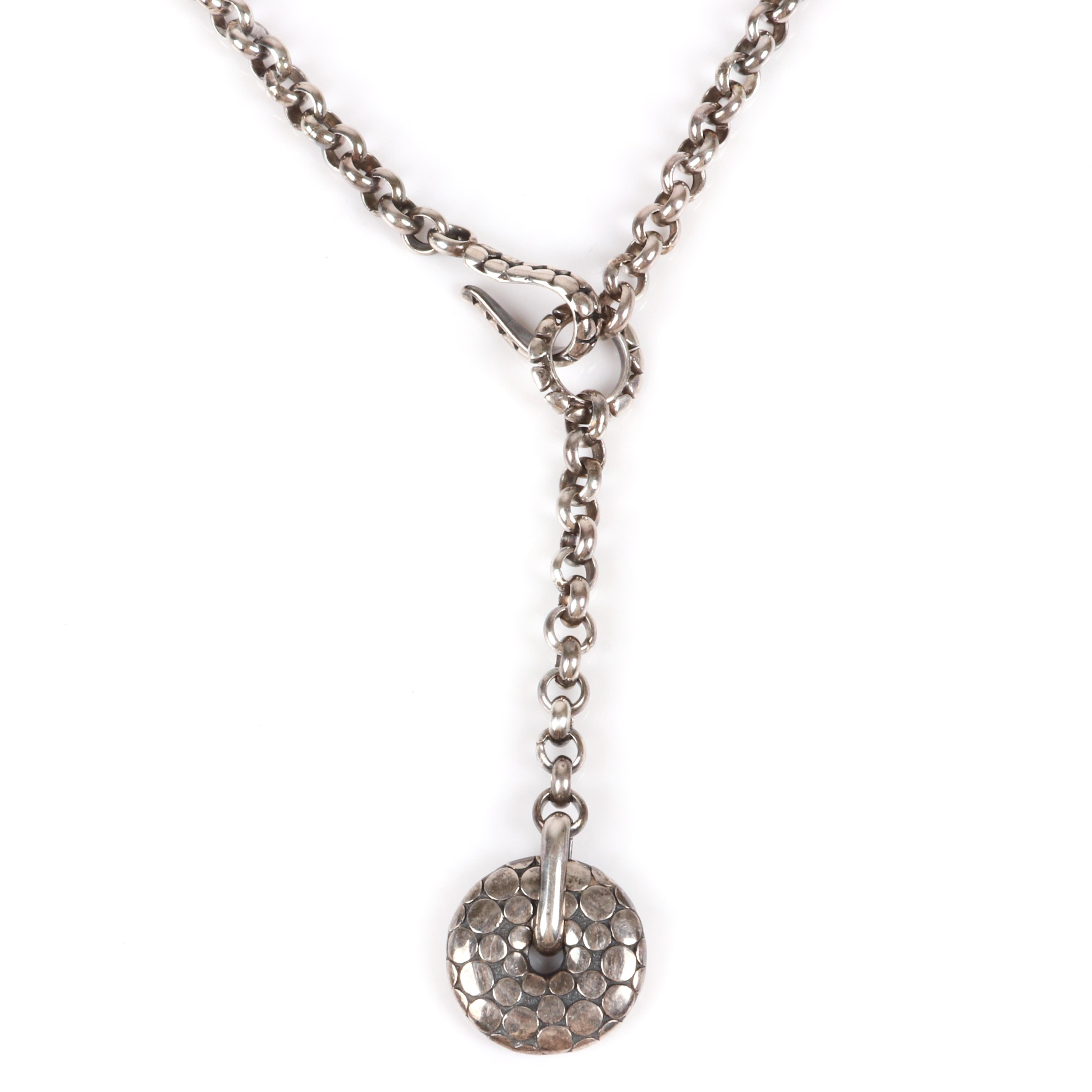 "John Hardy style Bali sterling silver lariat linked drop necklace with suspended dot disk pendant. 17""L (necklace), 3 1/2""L (pendant drop)"