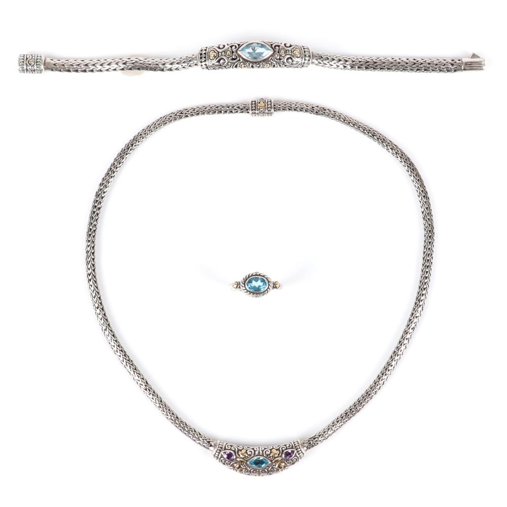 "Samuel Benham BJC designer sterling silver and 18K gold 3pc. jewelry set; necklace, bracelet and earrings with gemstone jewels including blue topaz and amethyst. 7 1/4""L (bracelet), Ring Size 7, 18""L (necklace)"