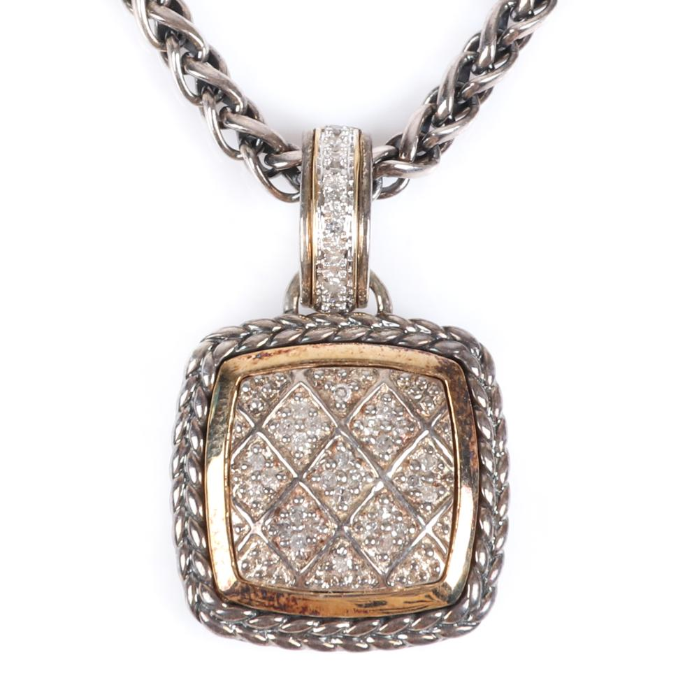 """Sterling silver and 14K gold designer convertible clasp pendant necklace with inset diamonds in geometric design. 17""""L, 3/4""""H (pendant)"""