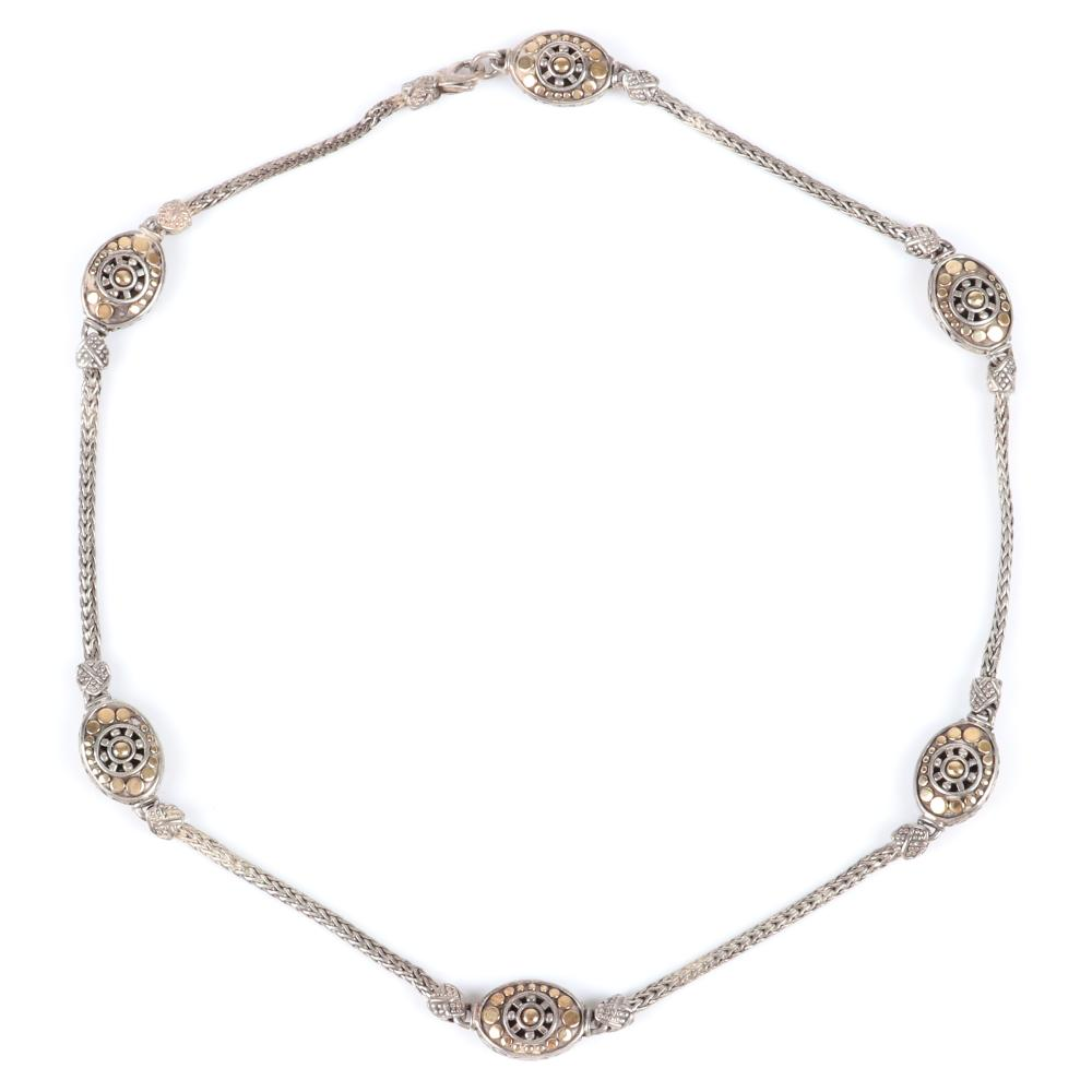 "John Hardy Jaisalmer sterling silver and 18K yellow gold woven necklace with six oval dot stations. 18""L"