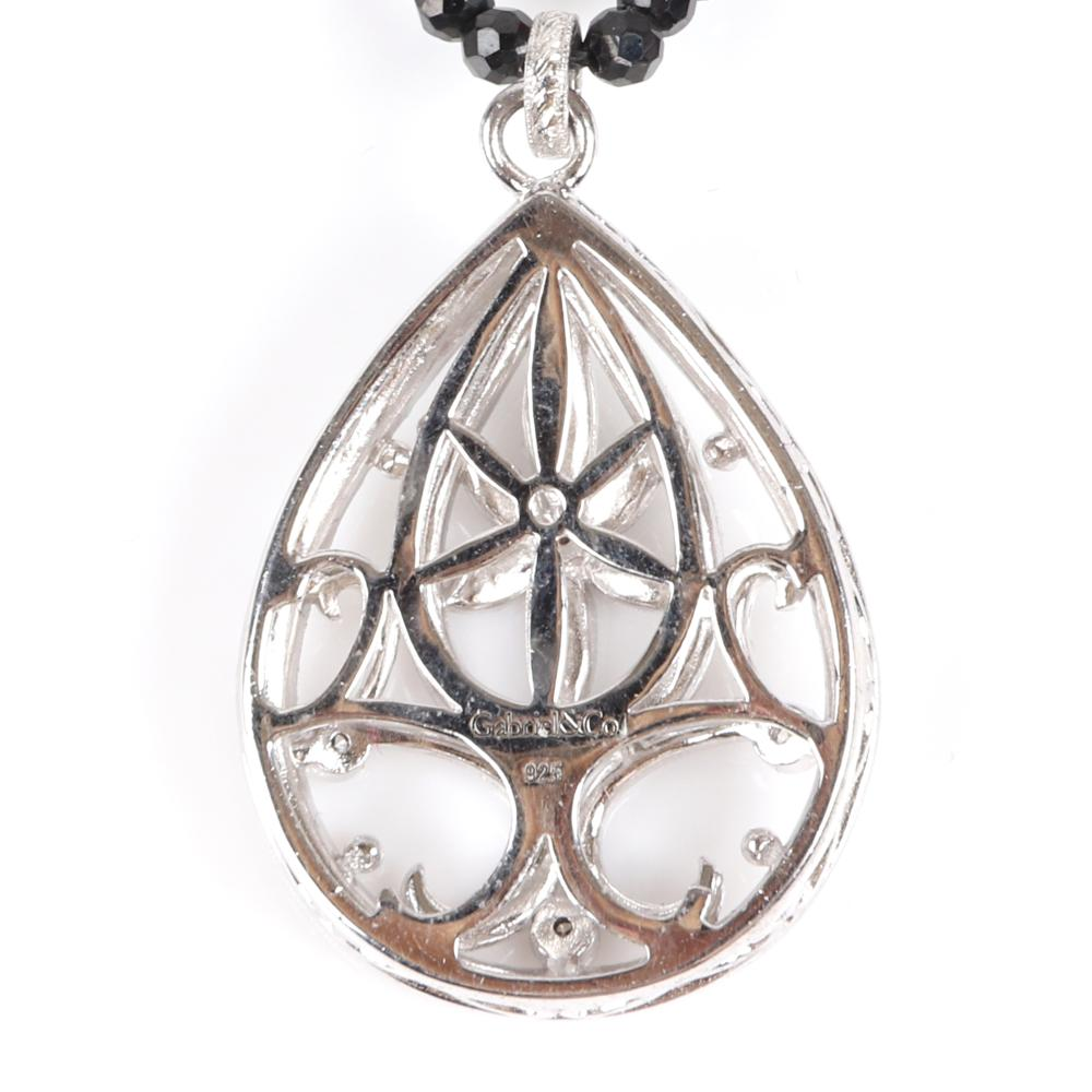 """Gabriel & Co. designer 925 sterling silver and diamond hollow openwork teardrop pendant on jet beaded necklace with sterling stations. 17""""L"""