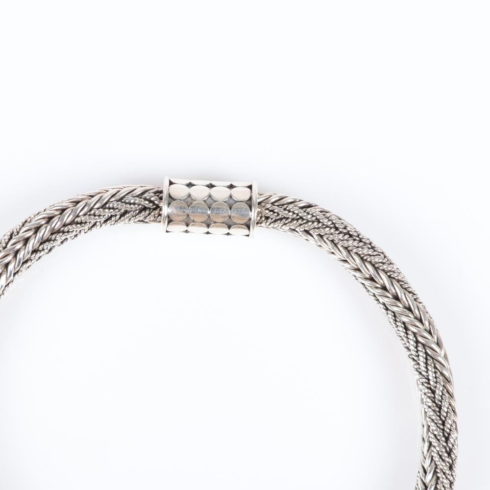 """John Hardy style Bali sterling silver woven cable chain bracelet with barrel dot clasp. 8 1/4""""L"""