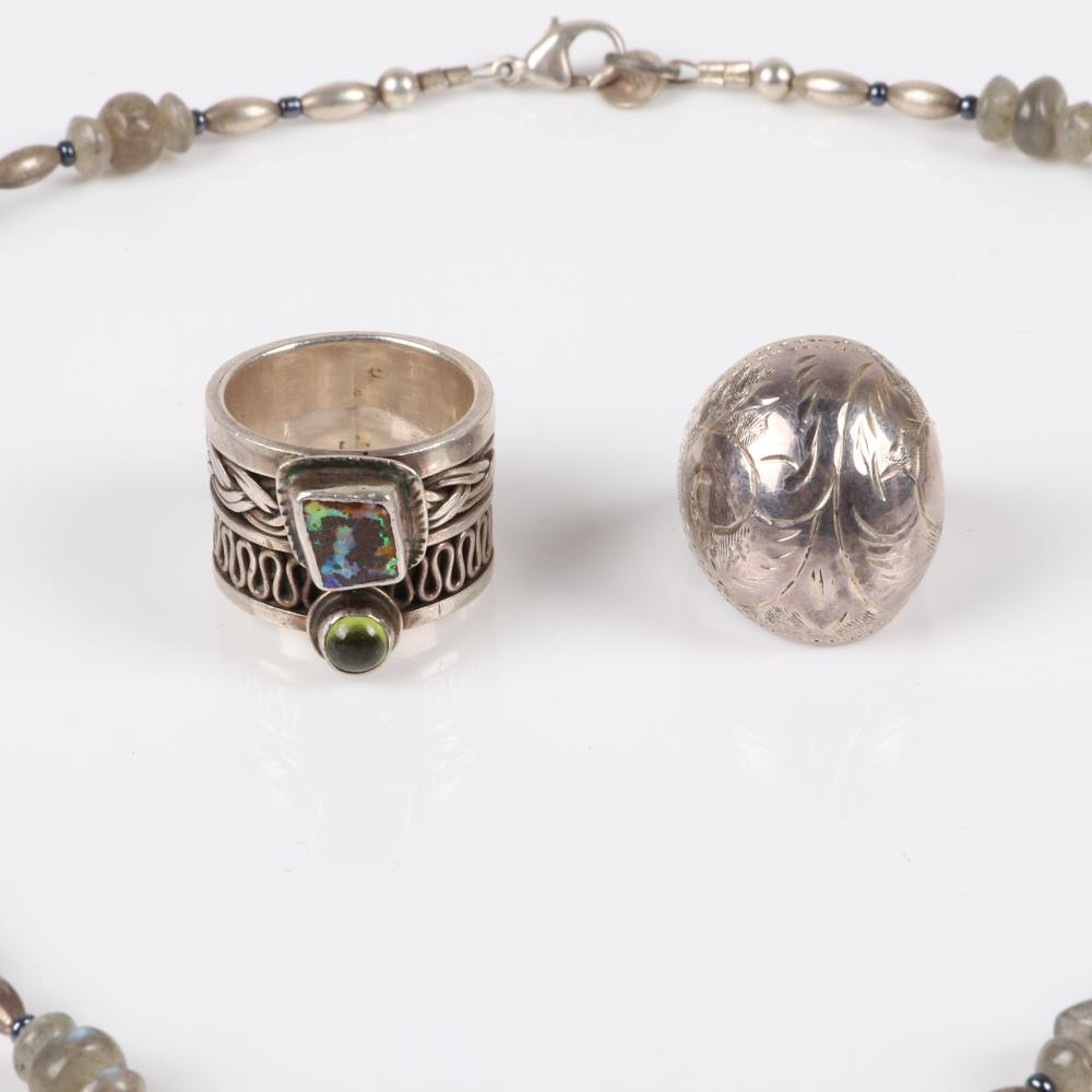 Sterling and stone 3pc group: MER necklace with silver and smoky quartz beads and pendant, artisan studio jewelry fused double woven ring with inlaid abalone and opal and green cabochon, domed ring with etched Southwest
