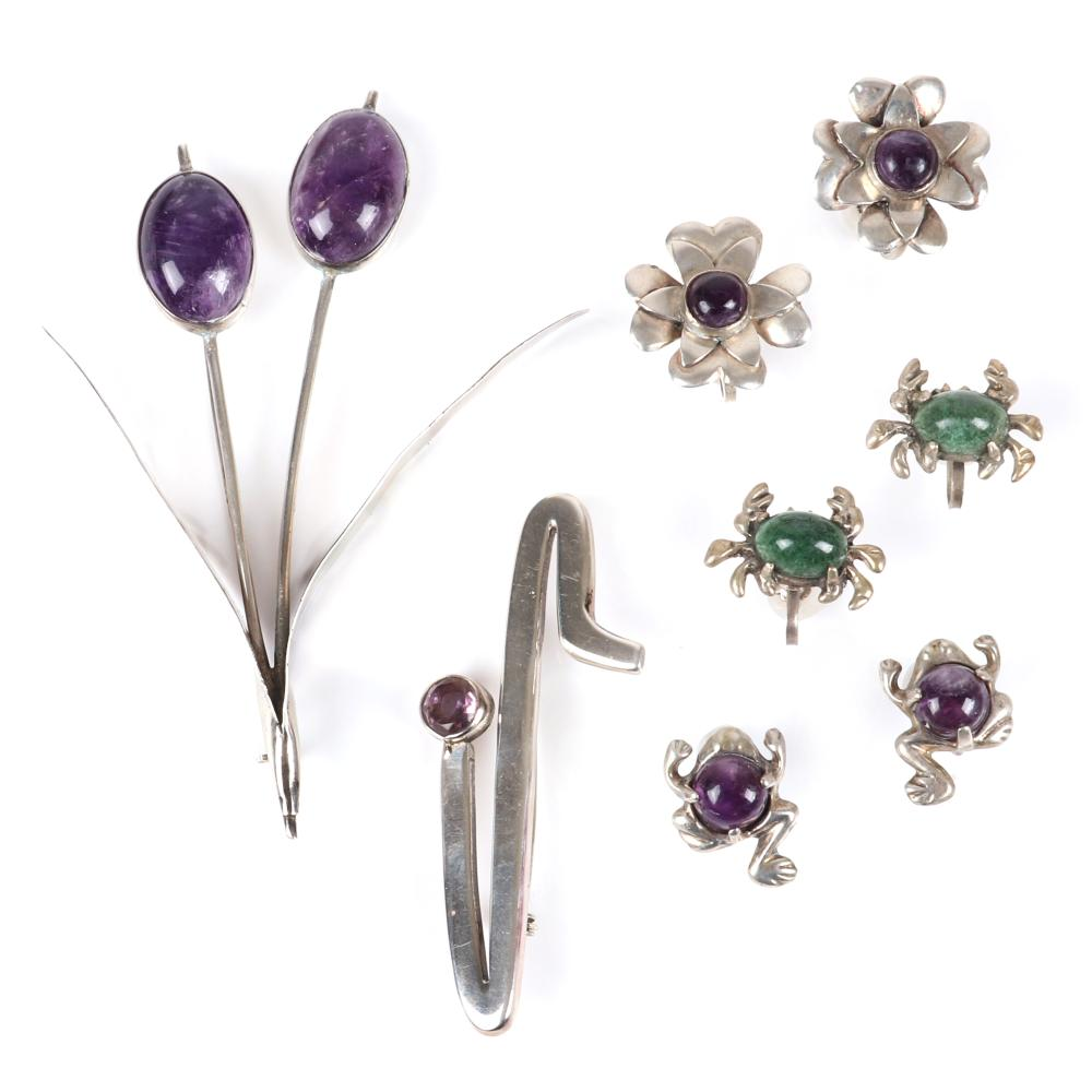 """Vintage Mexican modernist sterling silver 5pc jewelry: brooch with two amethyst cabochon flowers, TAXCO Los Ballesteros modern pin with crystal, 3 pairs of figural earrings with flowers, frogs, crabs. 4""""H x 3""""W (largest"""