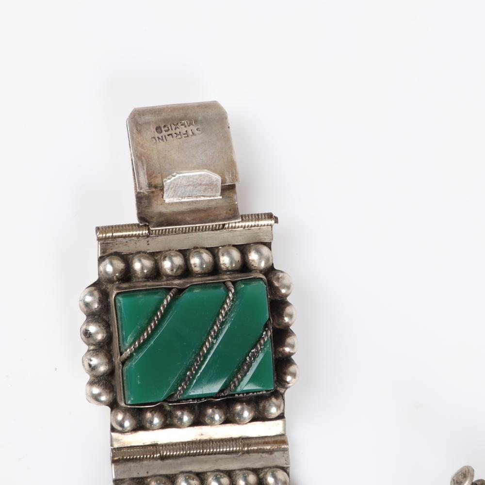 """Vintage Mexican sterling silver 3pc bracelet, brooch and earring matching set with raised carved and inlaid green jade / green onyx stones. 8""""L (bracelet), 1/2""""H x 2 1/4""""W (brooch)"""