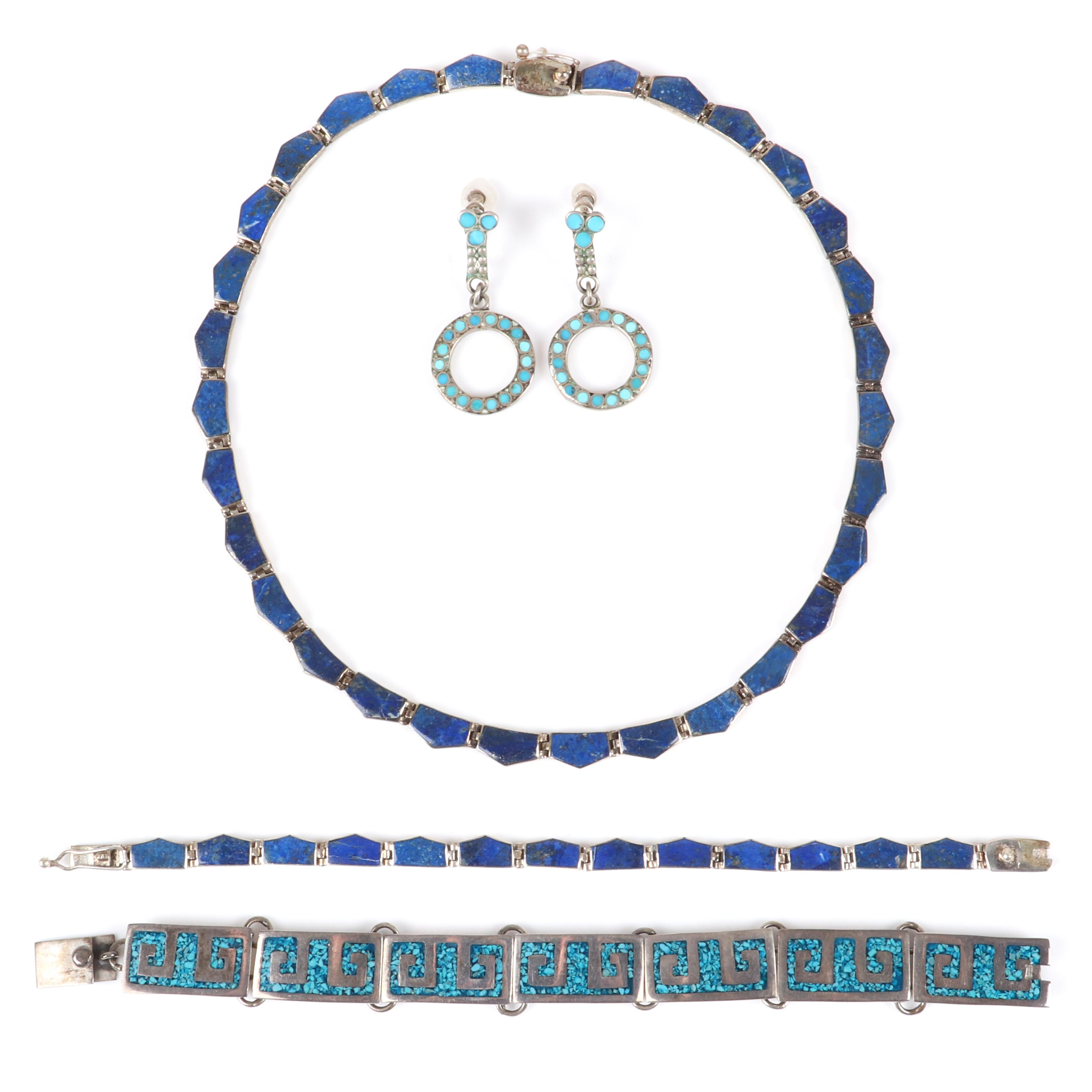 "Mexican Sterling & inlaid stone 4pc group: modernist 980 silver lapis inlay wedge choker necklace and bracelet, Taxco TC-60 turquoise mosaic bracelet, turquoise circle drop earrings. 16""L (necklace), 7"" (bracelets)"