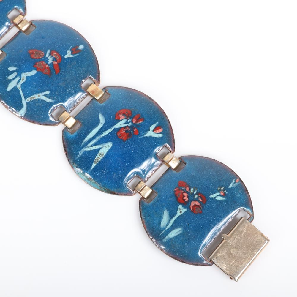 """Mildred Ball American Modernist blue enamel bracelet with five round linked panels with flower details and coordinating red pin with white flowers. 7""""L x 1 1/2""""W (bracelet)"""