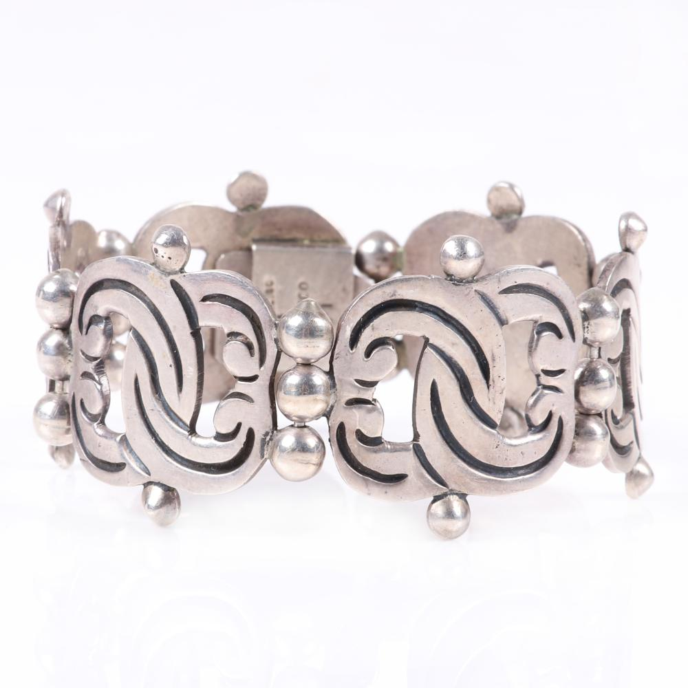 """Taxco Mexican modernist sterling silver bracelet with linked wide interlocking swirl panels, marked. 8""""L x 1 1/8""""W"""