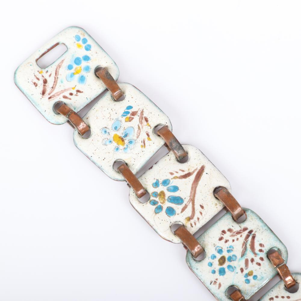 "Mildred Ball American Modernist enamel bracelet with four nine square cream panels with blue floral design and copper links with coordinating oval brooch. 7 1/2""L x 1""W (bracelet)"