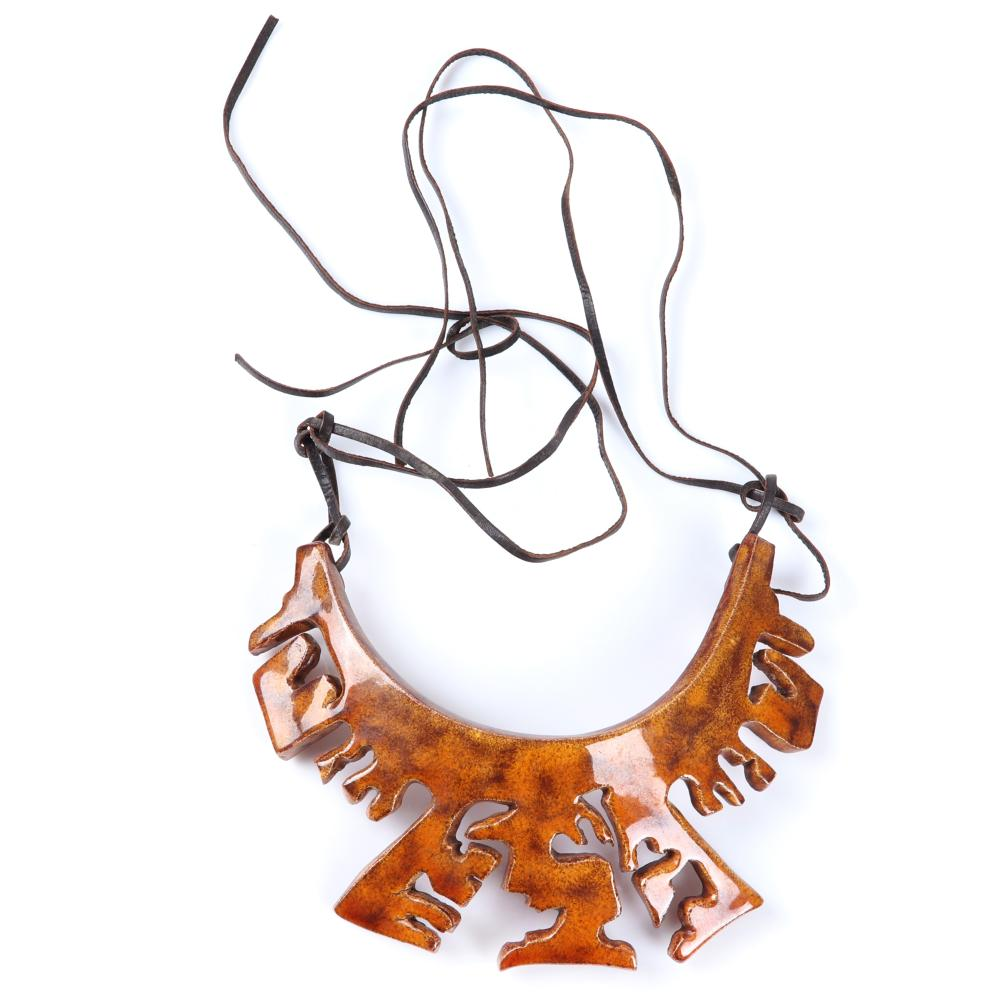 "Mildred Ball American Modernist brown glazed carved ceramic tribal collar with leather cord. Adjustable to 26""L"