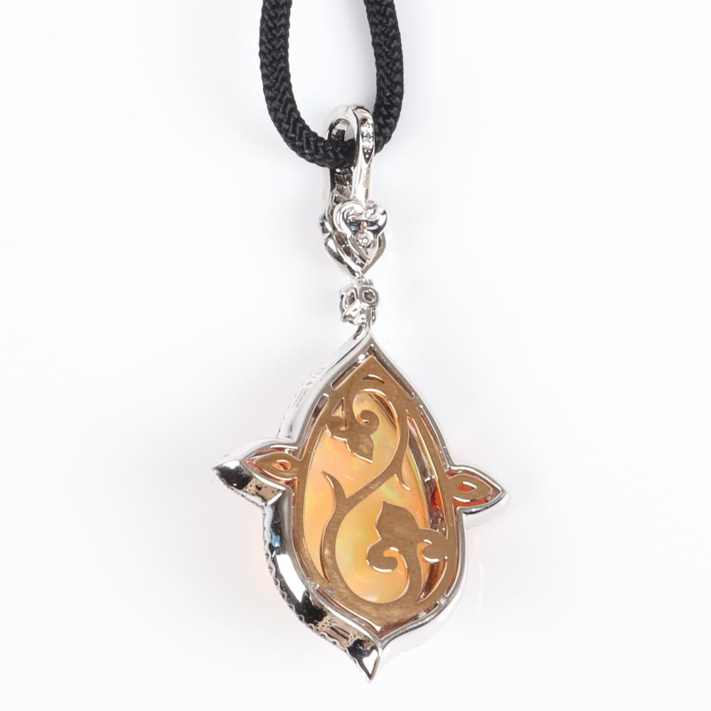 """Alessio Boschi designer 750 18K white and yellow gold pendant necklace with Ethiopian opal cabochon, Mexican fire opals, and diamonds on black cord with jeweled findings. 26""""L"""