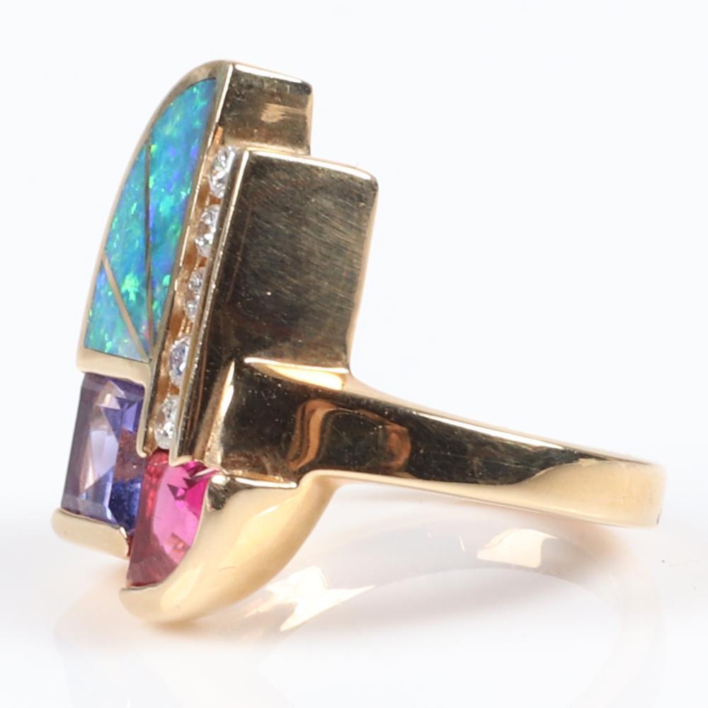 Kabana 14K yellow gold ring NKM with tanzanite, pink tourmaline, opal inlay, and diamonds, art deco inspired design. Ring Size 6