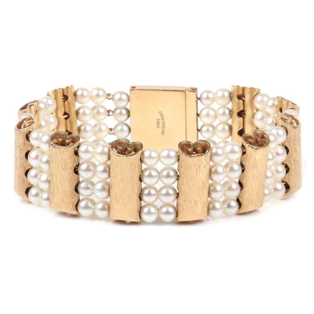 "Lucien Piccard vintage couture designer stamped 14K yellow gold and pearl bracelet in box with original tag. 7 1/8""L, 22.00 dwt."