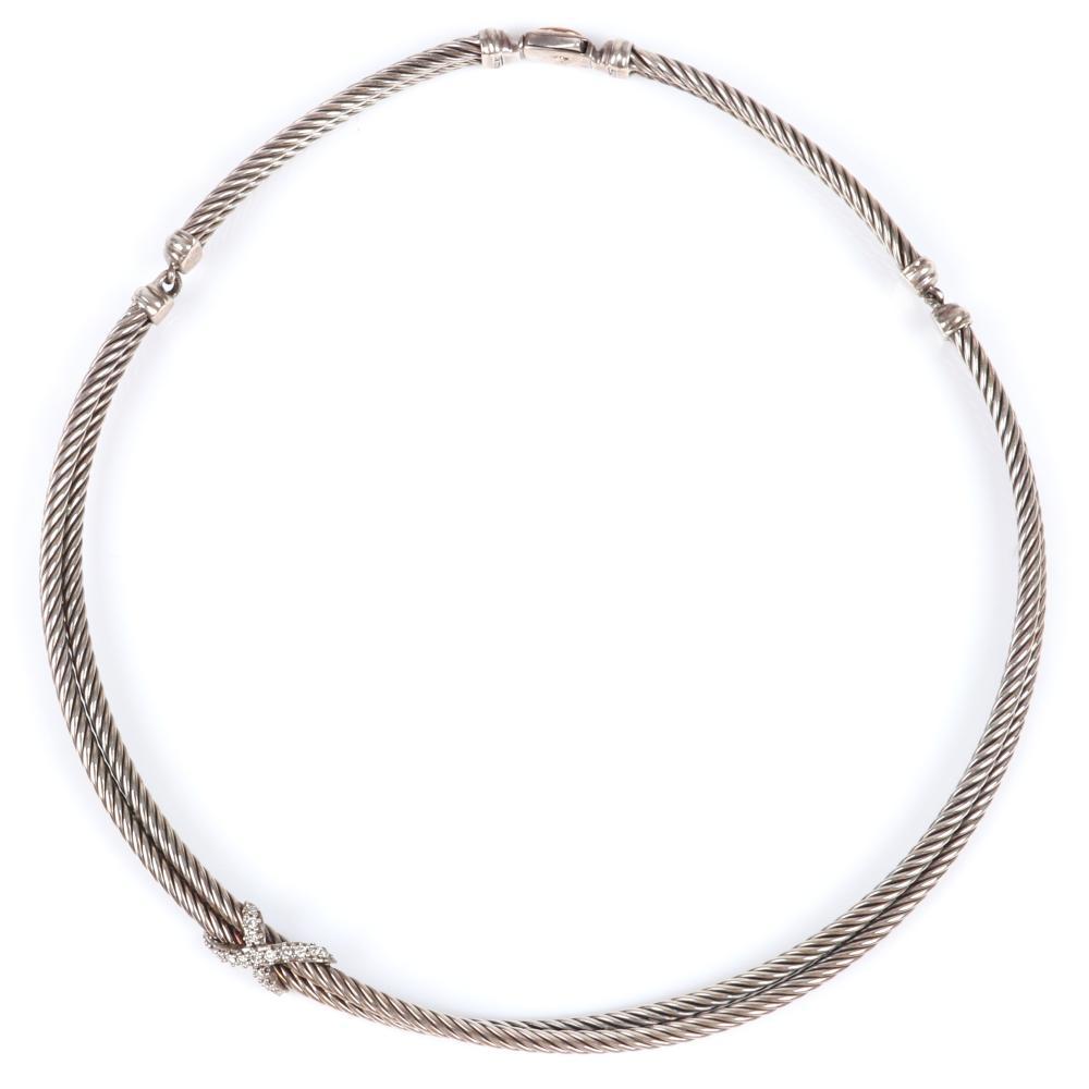 "David Yurman sterling silver double cable crossover X diamond choker necklace. 16""L"