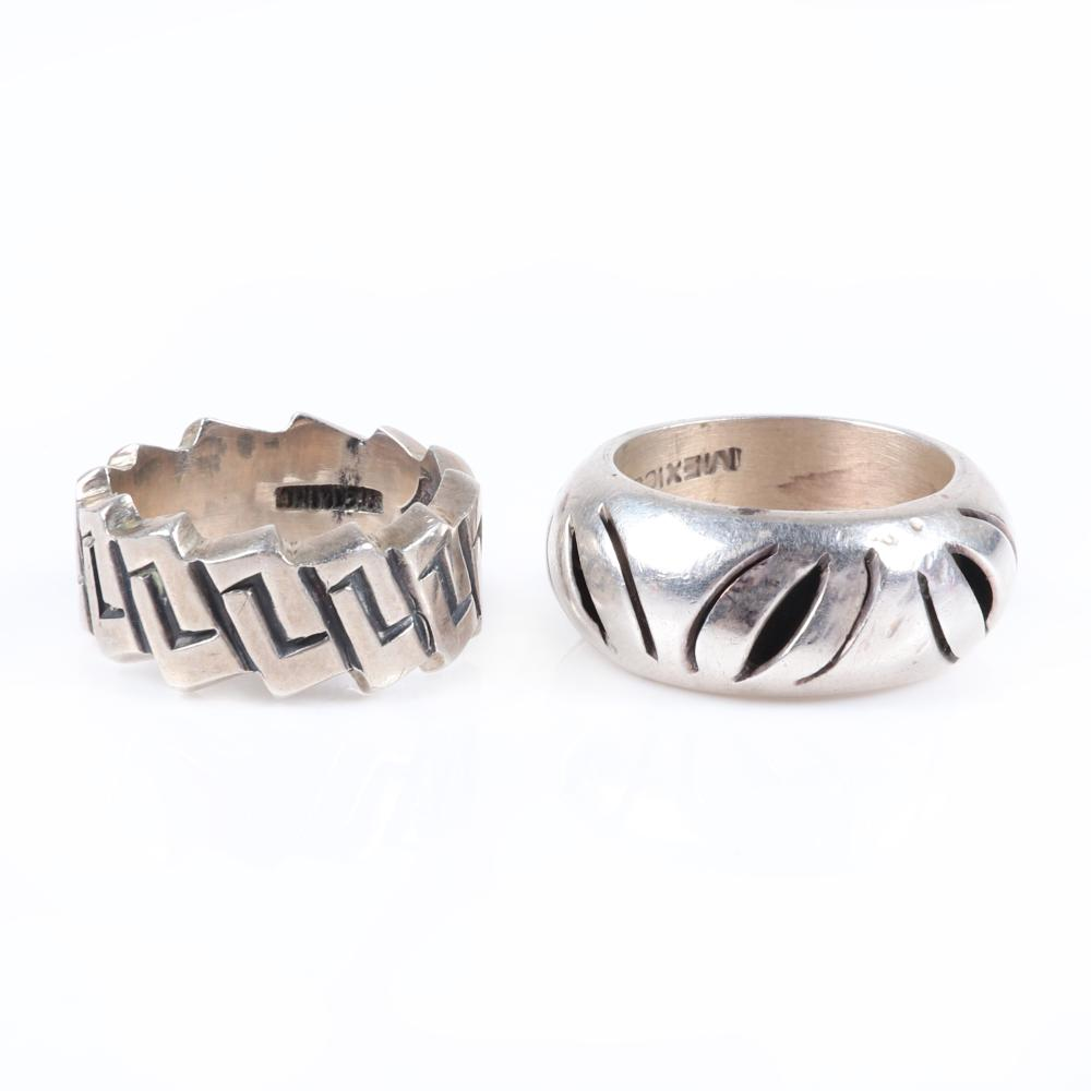 Two Taxco Mexican modernist sterling silver rings stamped with maker's marks, Antonio Pineda Taxco and MEXICO TA-181 925. Ring size 6 3/4 (largest), RIng size 6 1/4 (smallest)