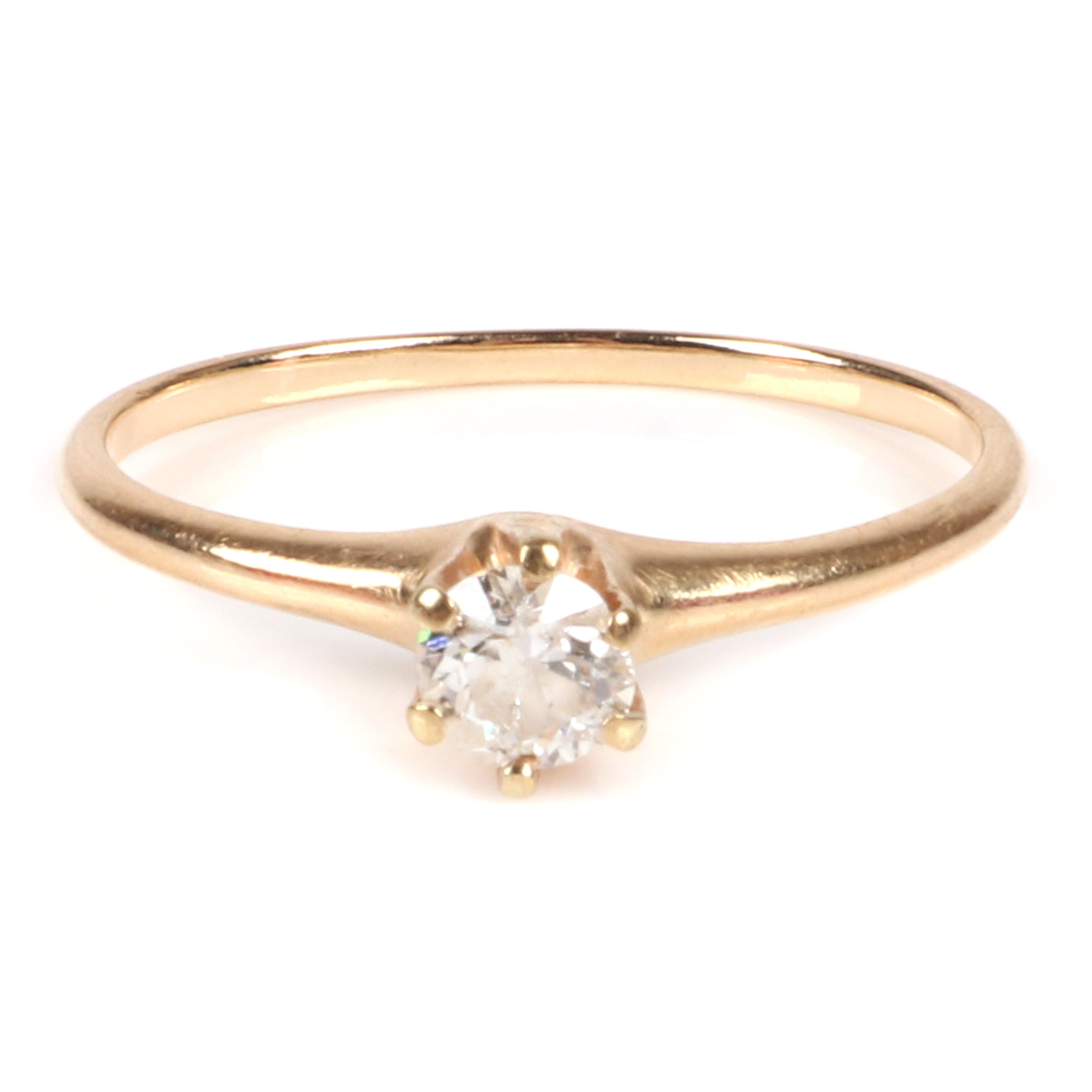 Old European cut Diamond solitaire 14K yellow gold engagement ring. Ring size 6 1/2