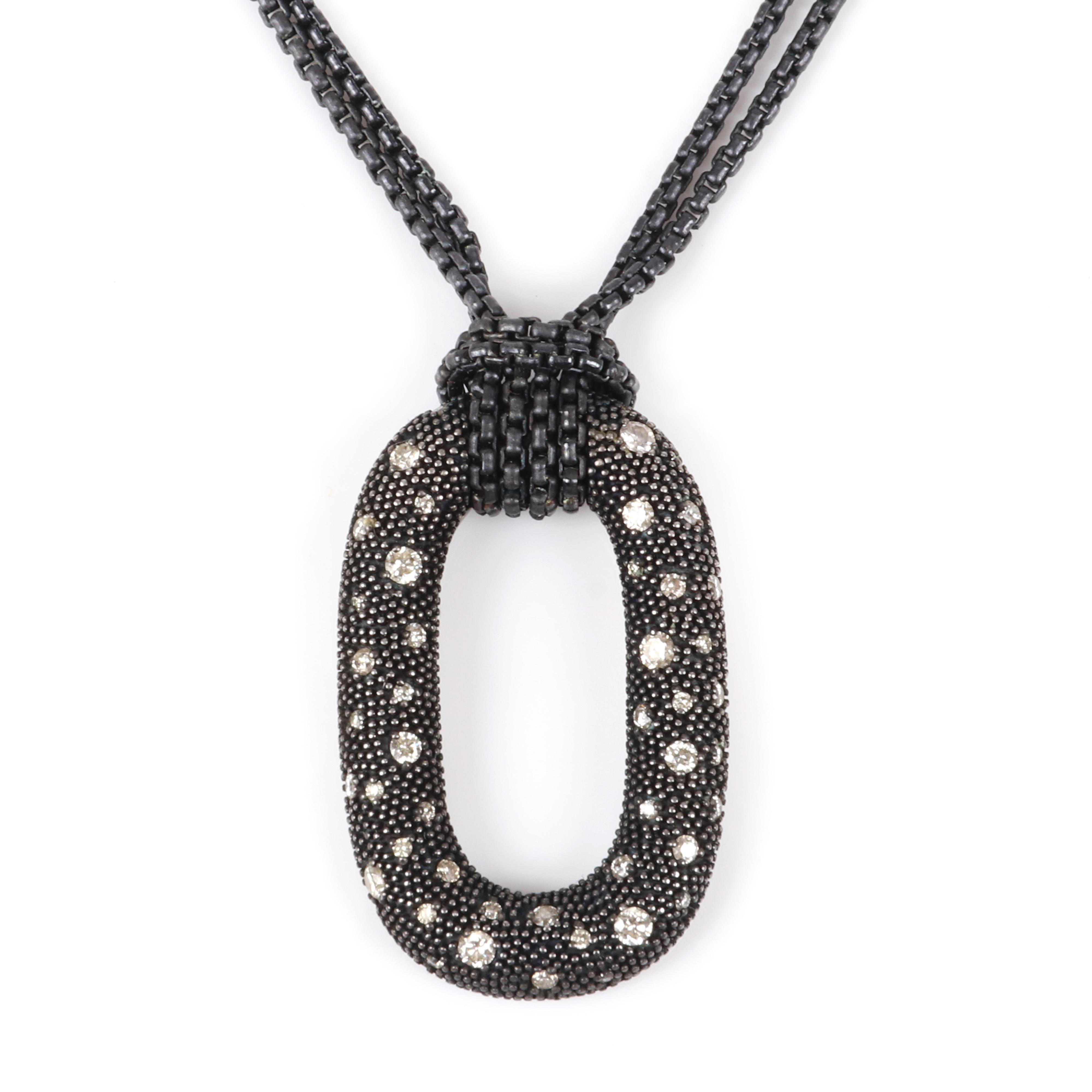 "David Yurman DY 925 sterling silver and diamond Midnight Melange open oval pendant on black patinated double chain necklace. 18""L. 1 1/2"" pendant."