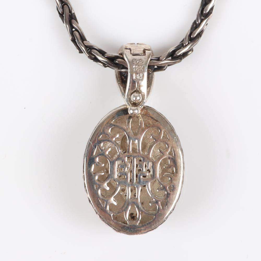 """Bellissima by Effy sterling silver and 18K white and yellow gold pendant necklace with .25cwt diamonds, 18""""L"""