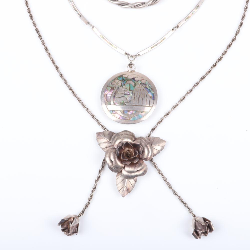 """Taxco Mexican modernist 1940s sterling silver 4pc: layered flower pendant pin and earrings, abalone inlaid bar link chain with double-sided figural pillow pendant, & twisted bangle bracelet. 17""""L (abalone necklace), 2""""di"""