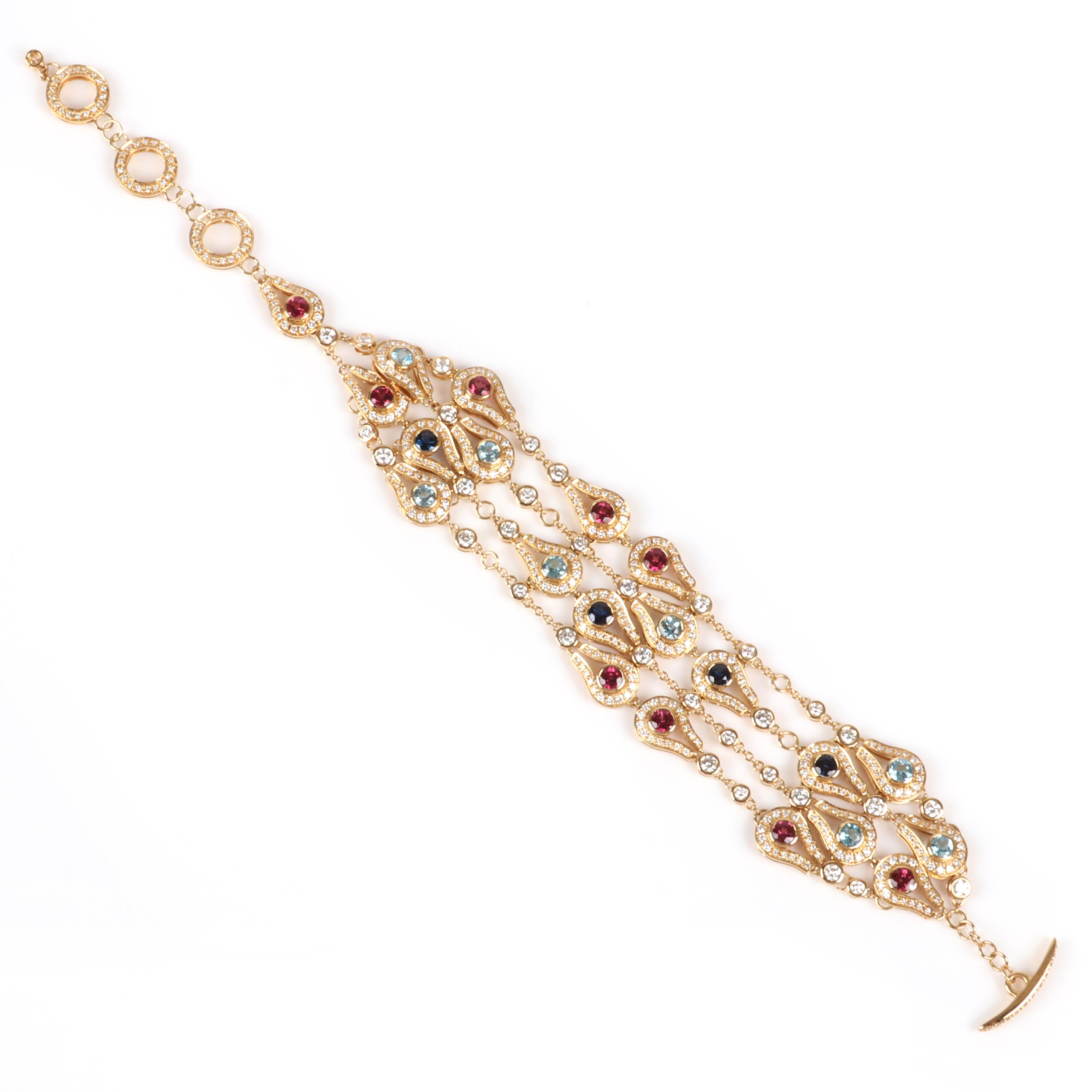 """Di Modolo Milano Fiamma designer multi stone and diamond 750 18K yellow gold bracelet, 20.25 dwt. Adjustable to 7 1/2"""" L"""