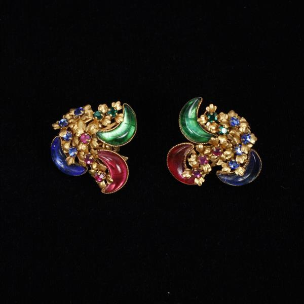 Miriam Haskell 3pc. Multi Color poured glass parure; Bracelet, Pin, & Clip on Earrings; jewel tone crescent motif.