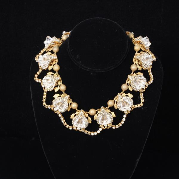Miriam Haskell 3pc. Crystal and Rhinestone Parure; Necklace, Pin, & Clip on Earrings.
