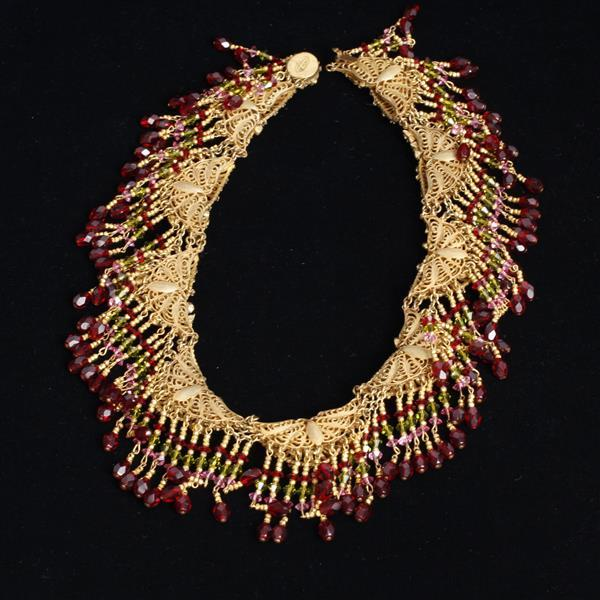 Miriam Haskell red beaded fringe collar necklace; pink and peridot crystal accents.