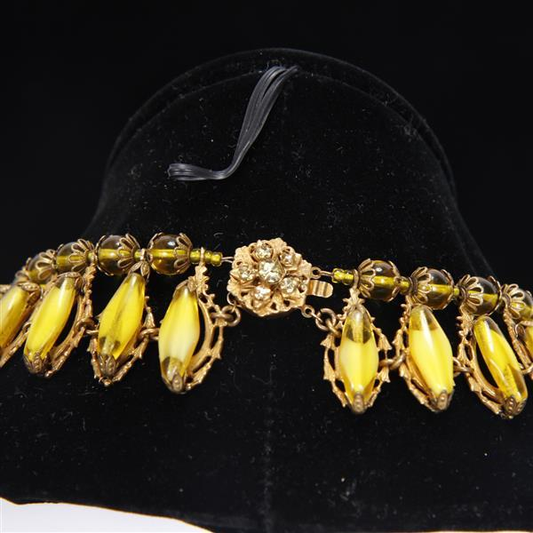 Miriam Haskell 3pc. Yellow/Citrine Costume Jewelry Set; Collar Necklace, Bracelet, & Clip Earrings.