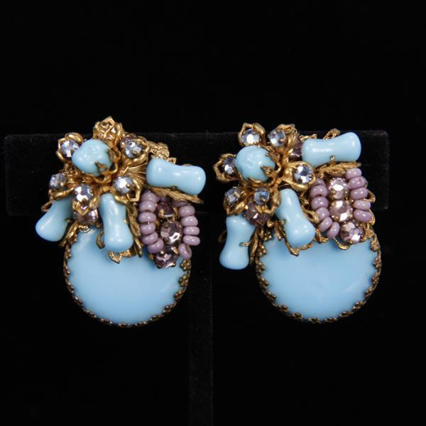 Miriam Haskell 2pc. Blue Floral Brooch/Pin & Clip Earrings