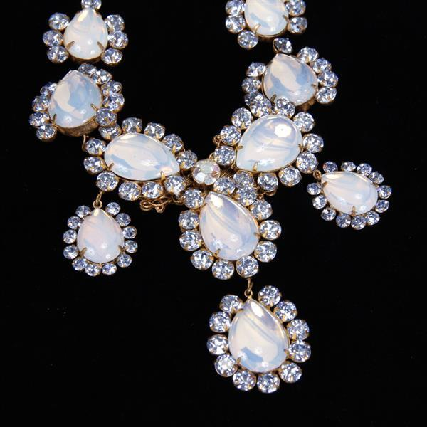 Miriam Haskell 4pc. Blue Moonstone Parure/Set; Necklace, Bracelet, Brooch/Pin, Clip Earrings.