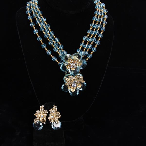 Miriam Haskell 2pc. Blue Floral Multi-strand Necklace & Clip Earrings