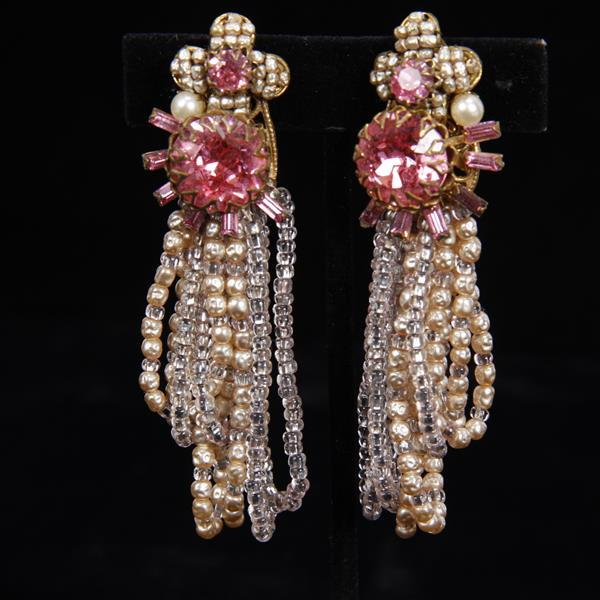 Miriam Haskell 2pc. Set; Multi-strand Pink Glass Beaded and Pearl Bracelet & Clip Earrings.