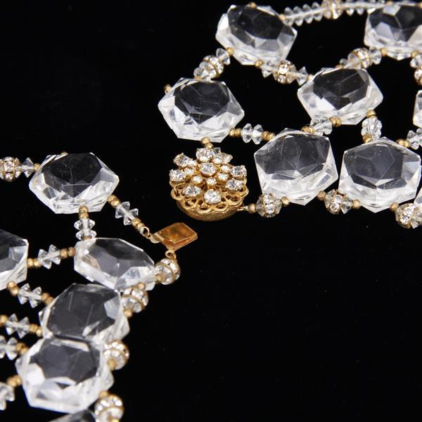 Miriam Haskell 2pc. set; faceted lucite acrylic stones and glass beaded collar / bib necklace and earrings; vintage designer runway...