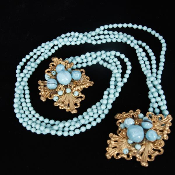 Unsigned Haskell-esque Czech Glass Beaded Turquoise Multi-strand Fur Clips & Bracelet with Gilt Brass Filigree; Unmarked.