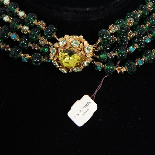 Stunning Miriam Haskell Egyptian Inspired Regal Bib Necklace with Green Glass and Peridot Rhinestone.