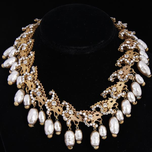 Miriam Haskell 2pc. Set; Pearl Drop Collar Necklace & Clip Earrings with clear rhinestones on layered brass.