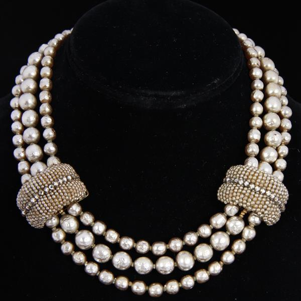 Miriam Haskell 2pc. Set; Multi Strand Pearl Necklace and Seed Pearl Earrnings with rhinestones.