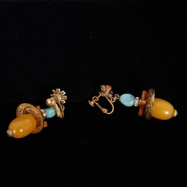 Miriam Haskell 2pc. Set; gilt shell necklace with coral and wooden beads, and earrings with amber and turquoise glass beads.